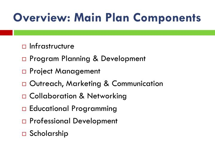 Overview: Main Plan Components