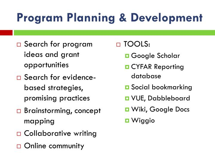 Program Planning & Development