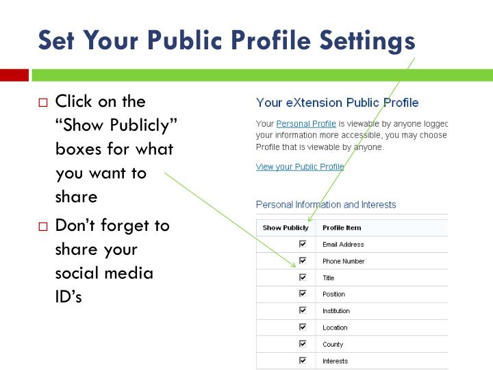 Set Your Public Profile Settings