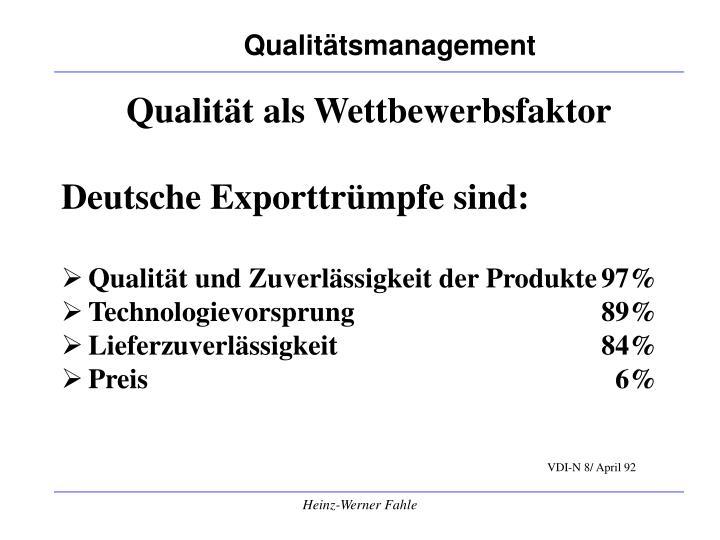 Qualität als Wettbewerbsfaktor