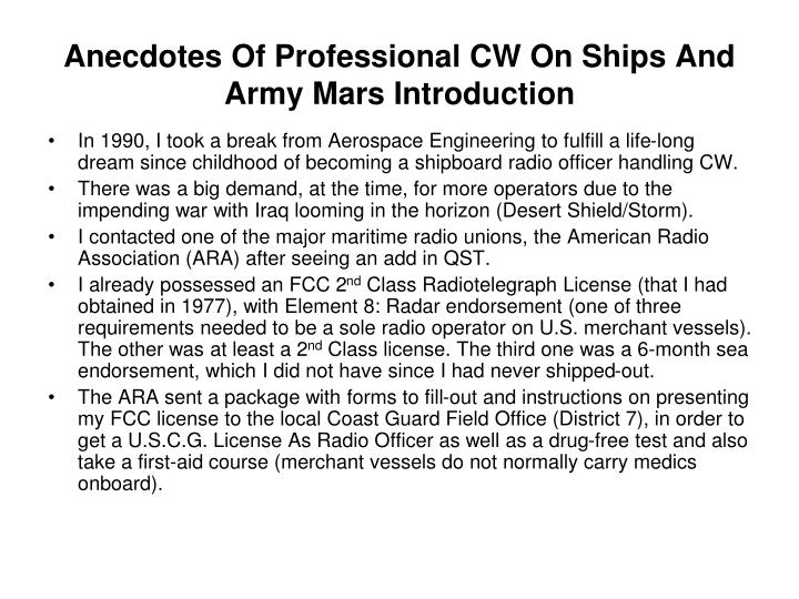Anecdotes Of Professional CW On Ships And Army Mars Introduction