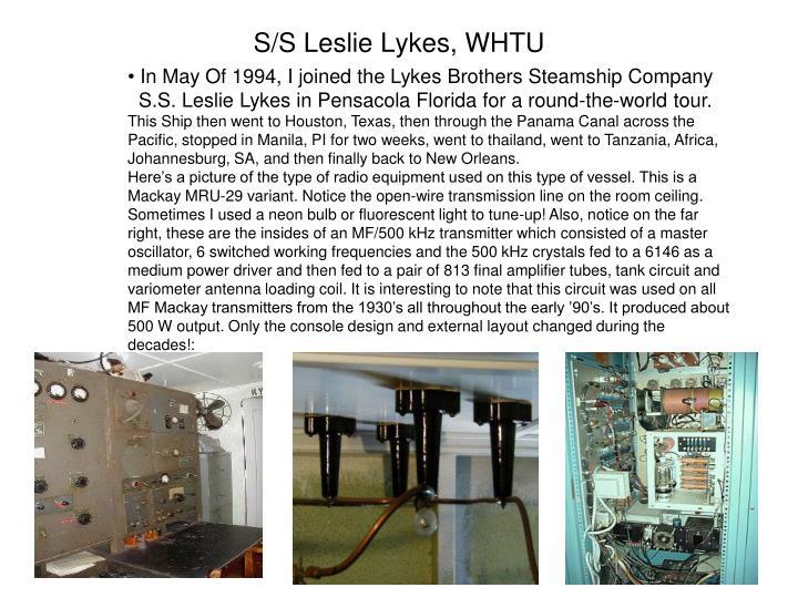 S/S Leslie Lykes, WHTU