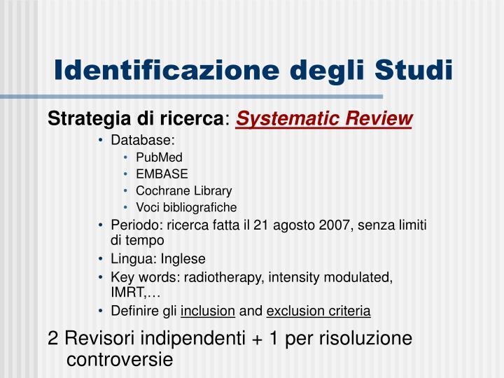 Identificazione degli Studi