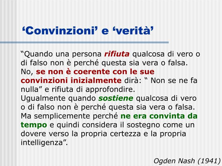 'Convinzioni' e 'verità'