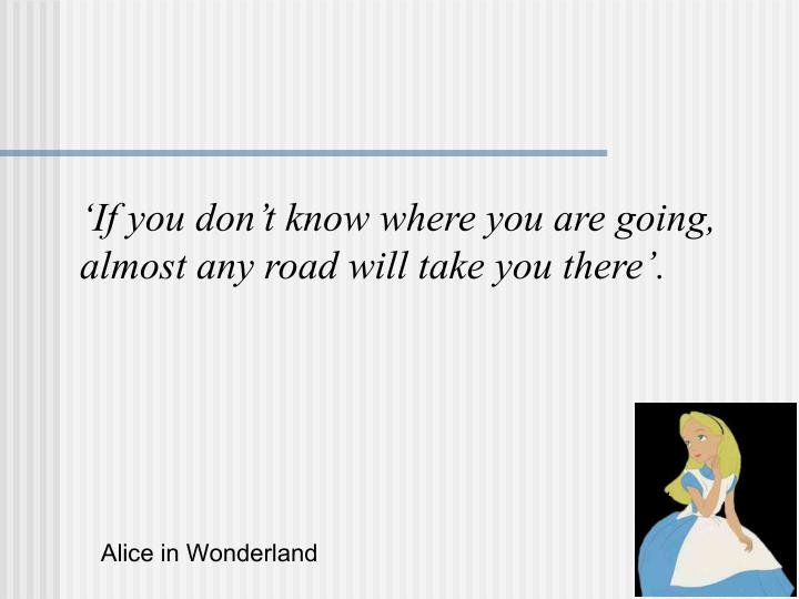 'If you don't know where you are going,