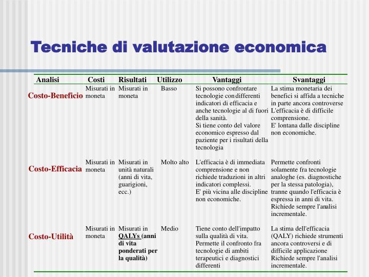 Tecniche di valutazione economica