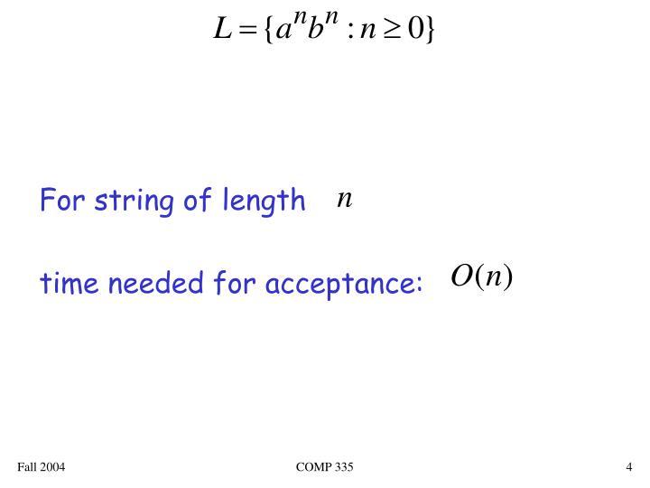 For string of length