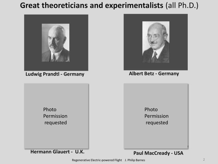 Great theoreticians and experimentalists