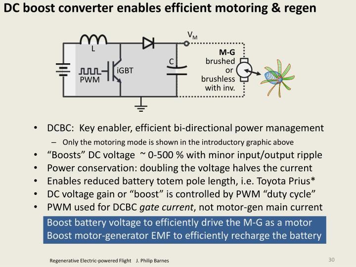 DC boost converter enables efficient motoring & regen