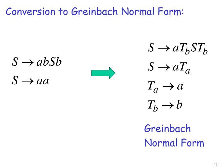 Conversion to Greinbach Normal Form: