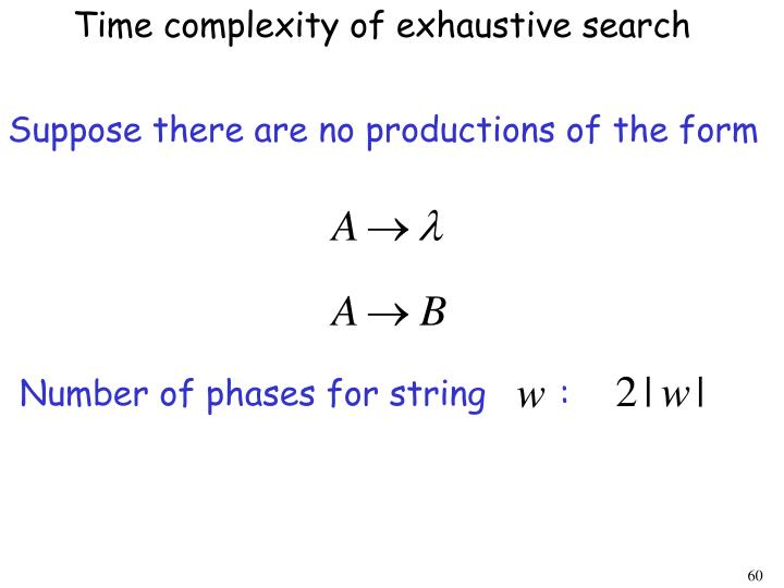 Time complexity of exhaustive search