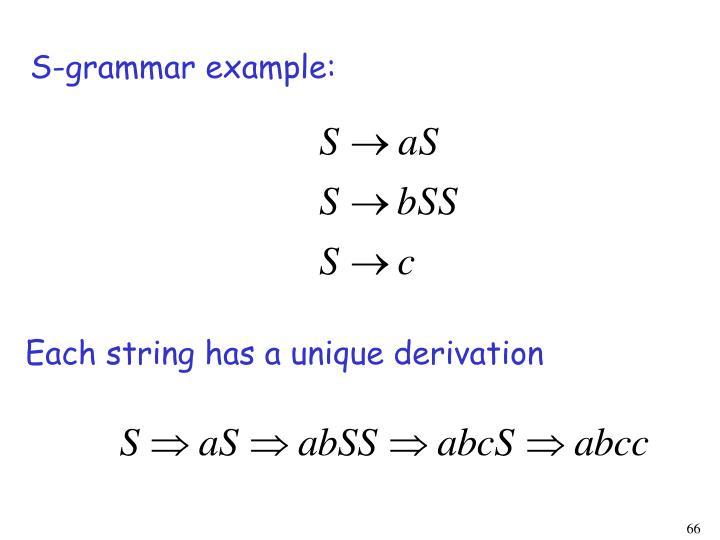 S-grammar example: