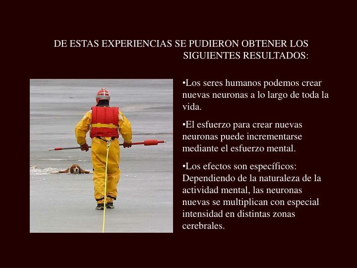 DE ESTAS EXPERIENCIAS SE PUDIERON OBTENER LOS SIGUIENTES RESULTADOS: