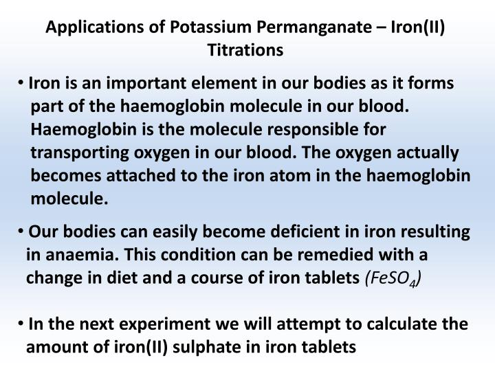 Applications of Potassium Permanganate – Iron(II) Titrations