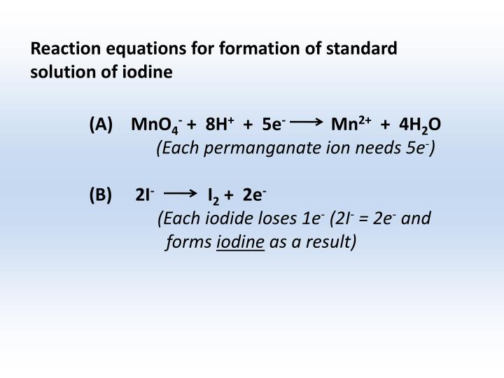 Reaction equations for formation of standard