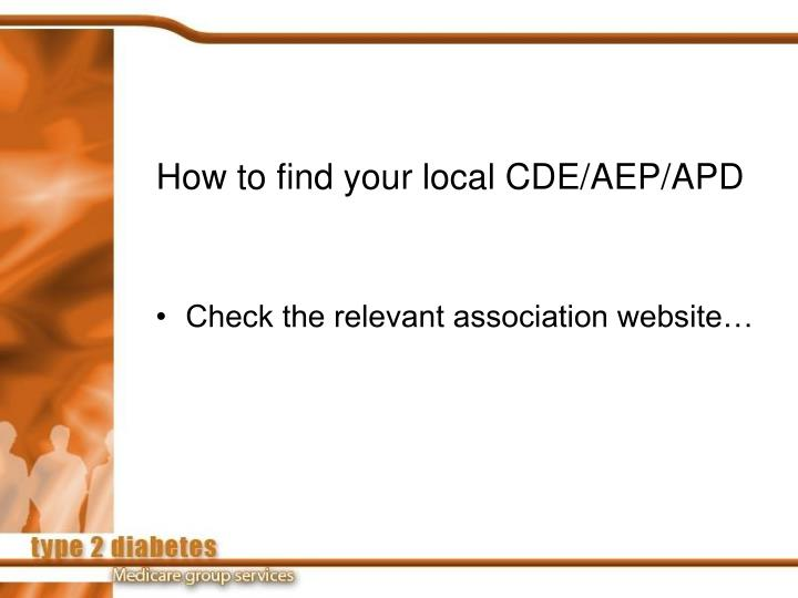 How to find your local CDE/AEP/APD