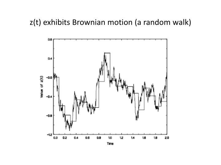 z(t) exhibits Brownian motion (a random walk)