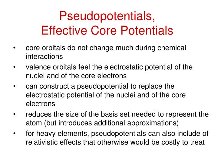Pseudopotentials,