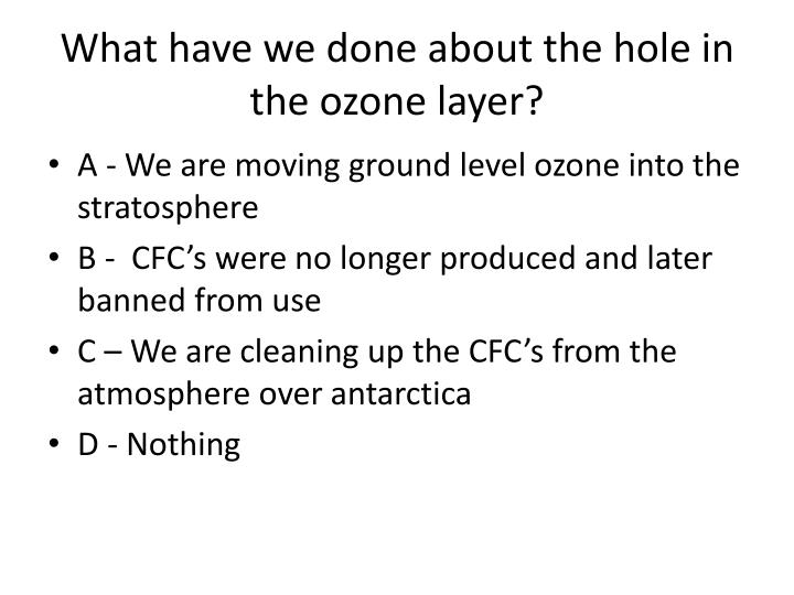 What have we done about the hole in the ozone layer?