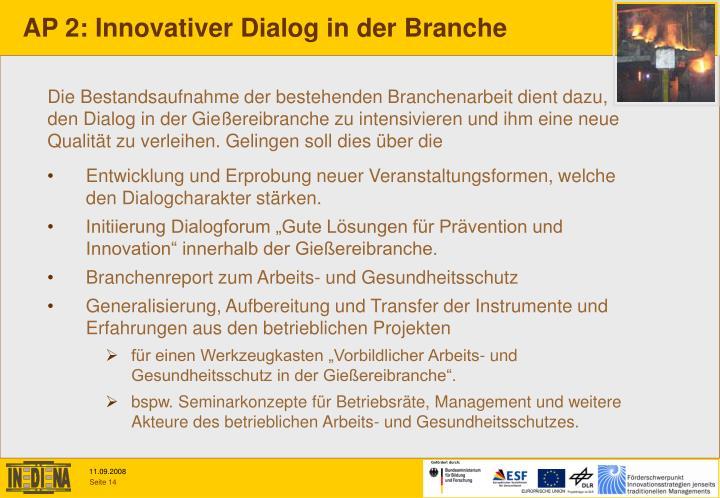 AP 2: Innovativer Dialog in der Branche