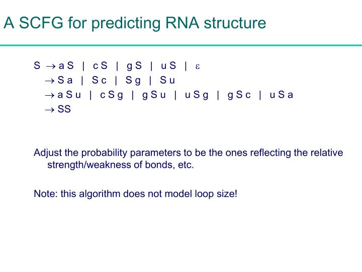 A SCFG for predicting RNA structure