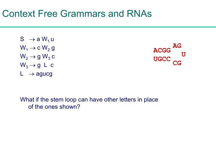 Context Free Grammars and RNAs
