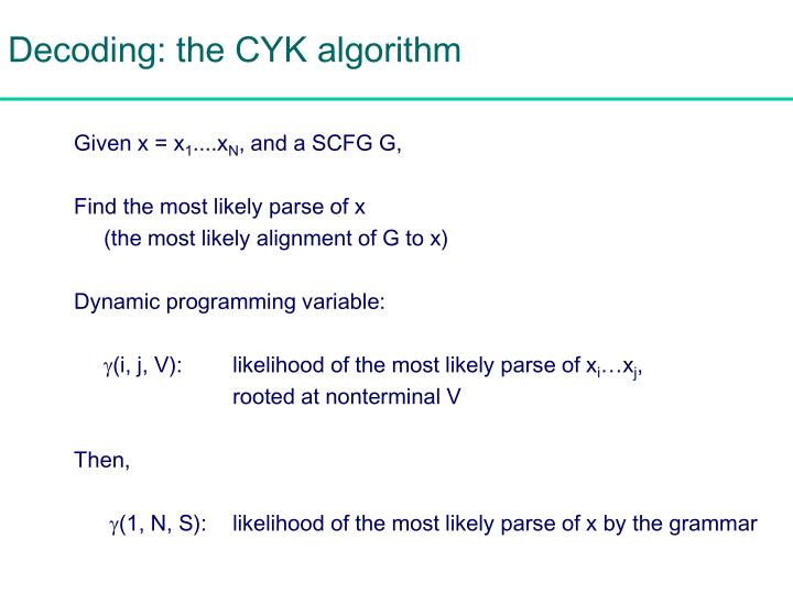 Decoding: the CYK algorithm