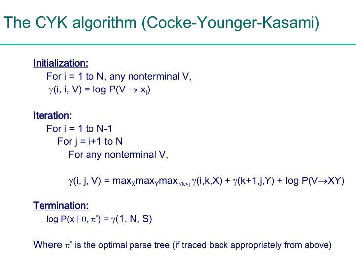 The CYK algorithm (Cocke-Younger-Kasami)