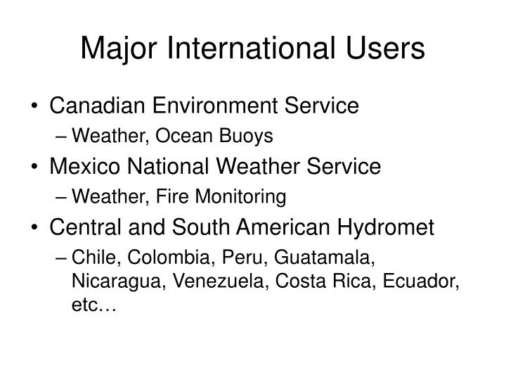 Major International Users