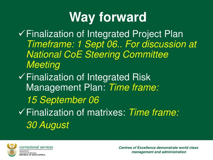 Finalization of Integrated Project Plan
