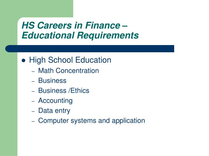 HS Careers in Finance –