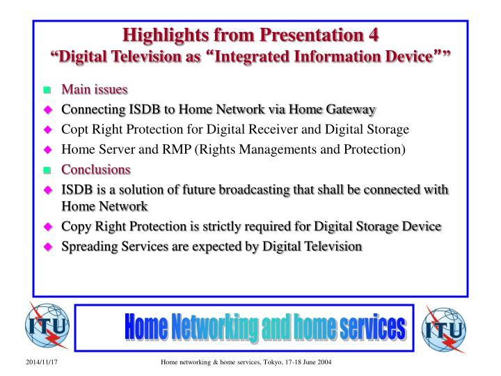 Highlights from Presentation 4