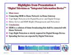 highlights from presentation 4 digital television as integrated information device