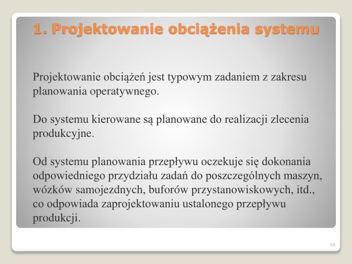 Projektowanie obciążeń jest typowym zadaniem z zakresu planowania operatywnego.