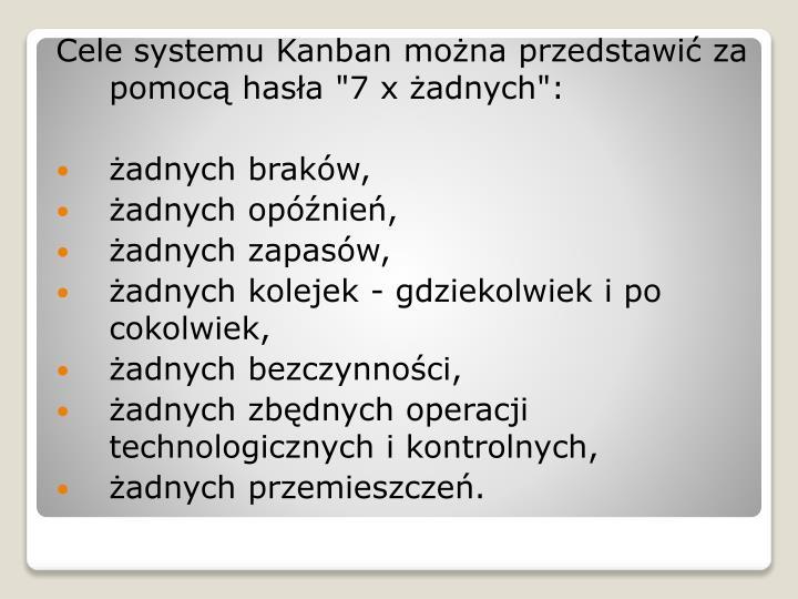 """Cele systemu Kanban można przedstawić za pomocą hasła """"7 x żadnych"""":"""
