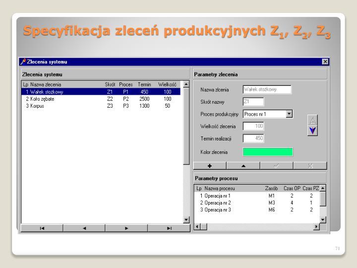 Specyfikacja zleceń produkcyjnych Z
