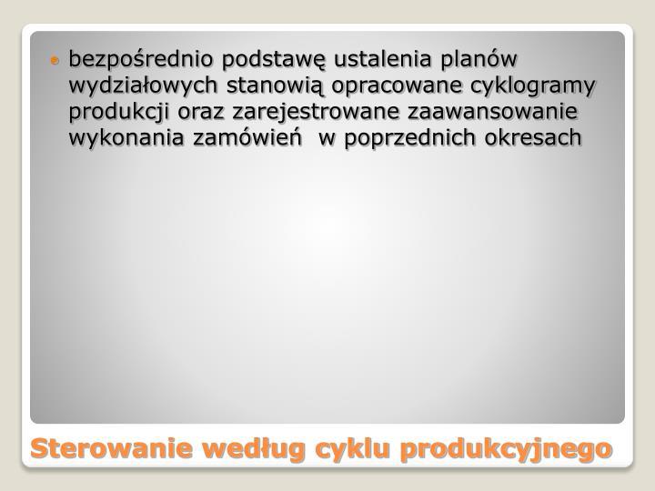 bezpośrednio podstawę ustalenia planów wydziałowych stanowią opracowane cyklogramy produkcji oraz zarejestrowane zaawansowanie wykonania zamówień  w poprzednich okresach