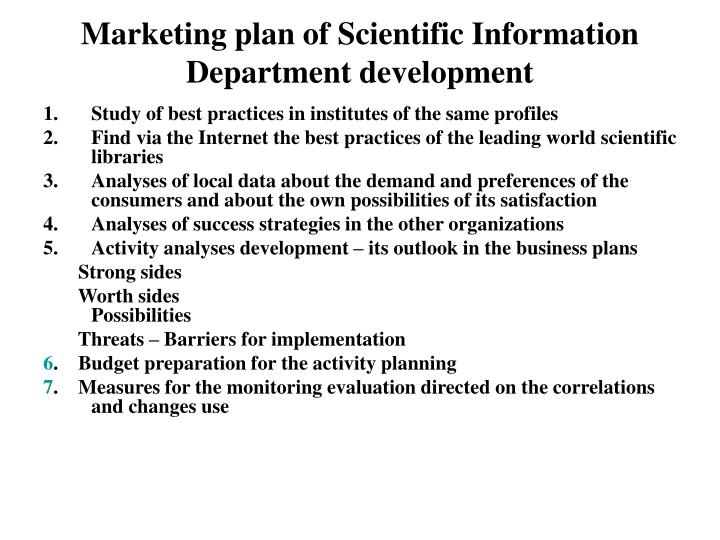 Marketing plan of Scientific Information Department development