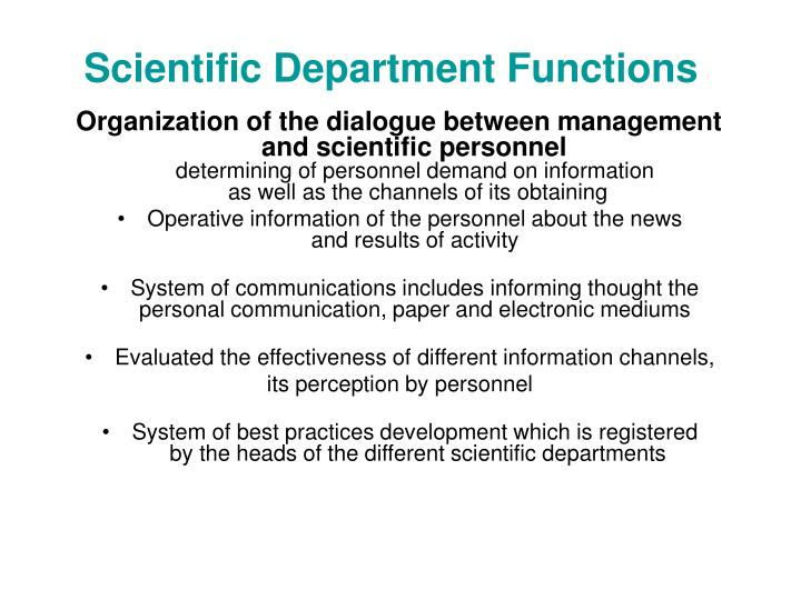 Scientific Department Functions
