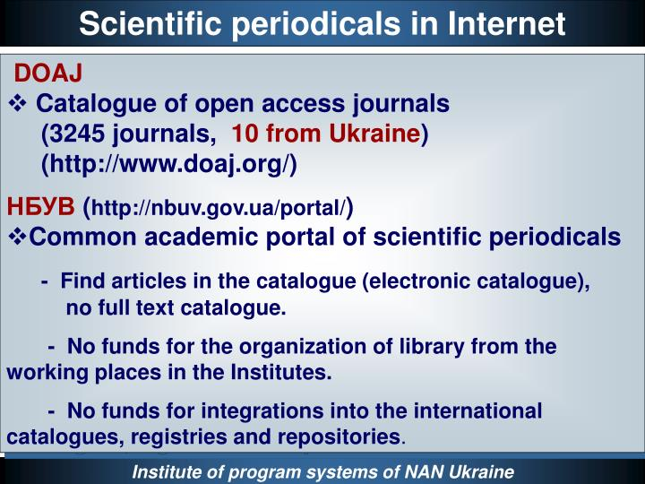 Scientific periodicals in Internet