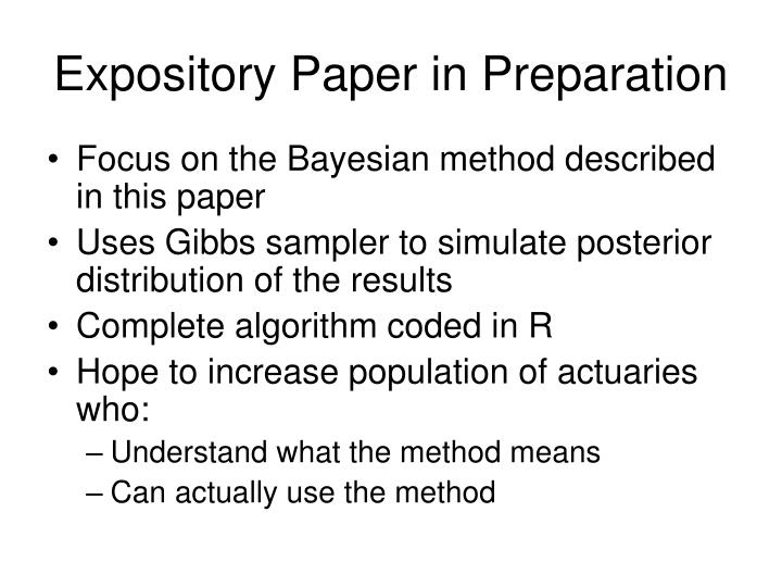 Expository Paper in Preparation