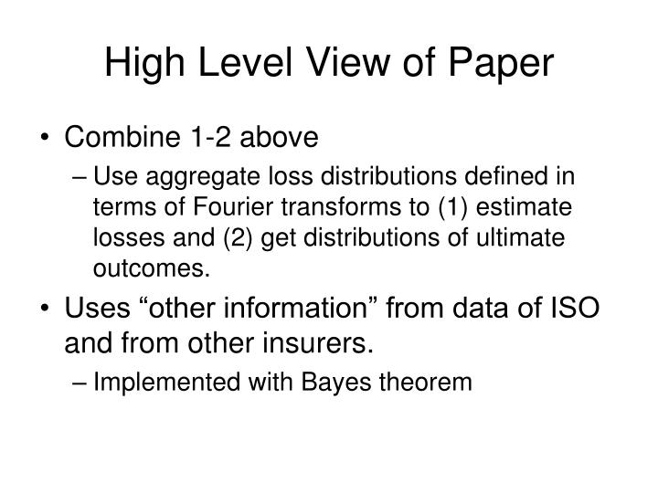 High Level View of Paper