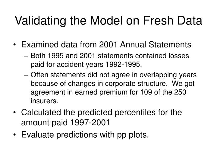 Validating the Model on Fresh Data