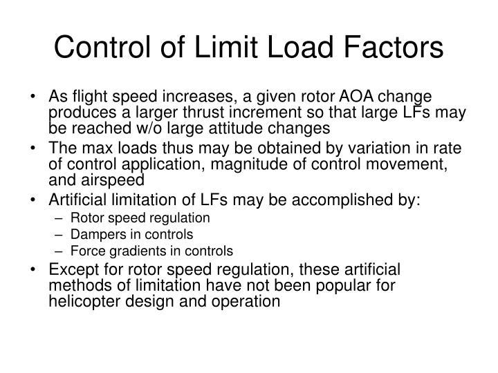 Control of Limit Load Factors