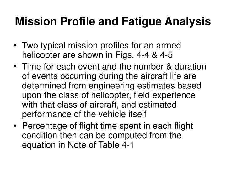 Mission Profile and Fatigue Analysis