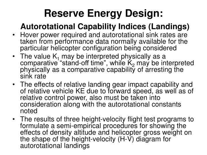 Reserve Energy Design: