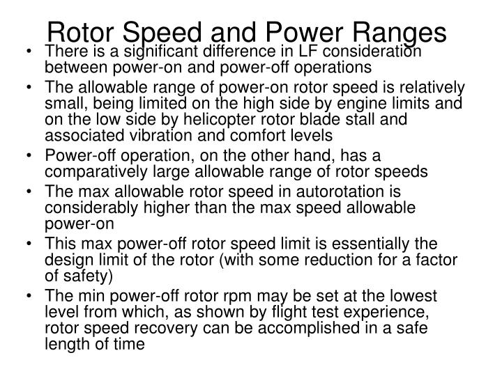 Rotor Speed and Power Ranges
