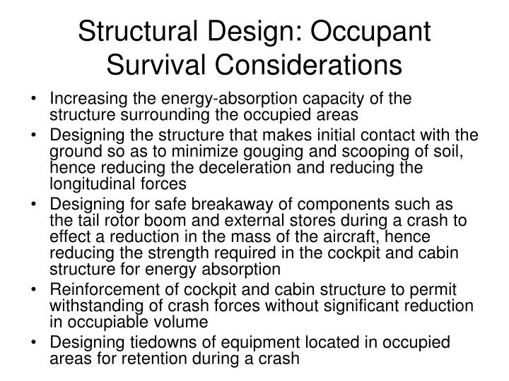 Structural Design: Occupant Survival Considerations