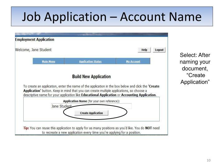Job Application – Account Name
