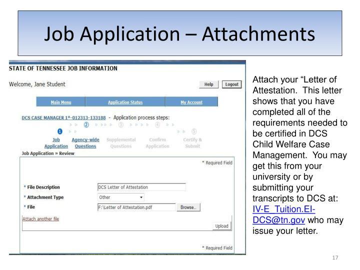 Job Application – Attachments